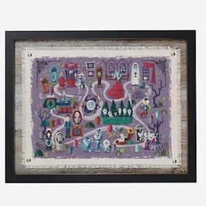 DISNEY the haunted mansion attraction framed map!